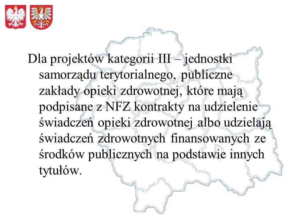 Dla projektów kategorii III – jednostki samorządu terytorialnego, publiczne zakłady opieki zdrowotnej, które mają podpisane z NFZ kontrakty na udzielenie świadczeń opieki zdrowotnej albo udzielają świadczeń zdrowotnych finansowanych ze środków publicznych na podstawie innych tytułów.