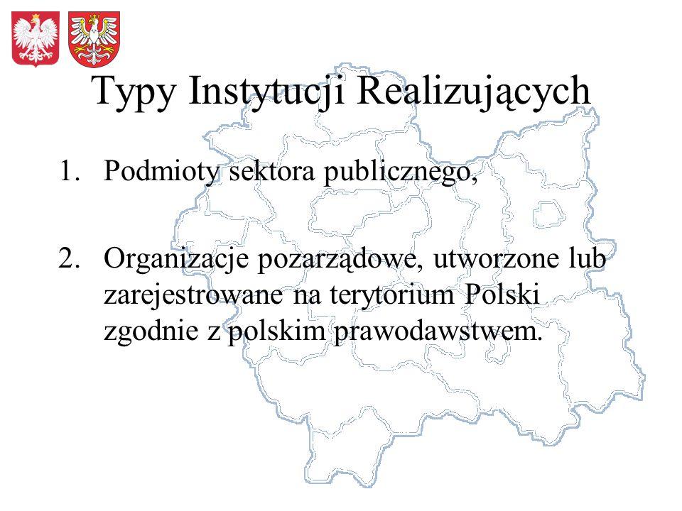 Typy Instytucji Realizujących 1.Podmioty sektora publicznego, 2.