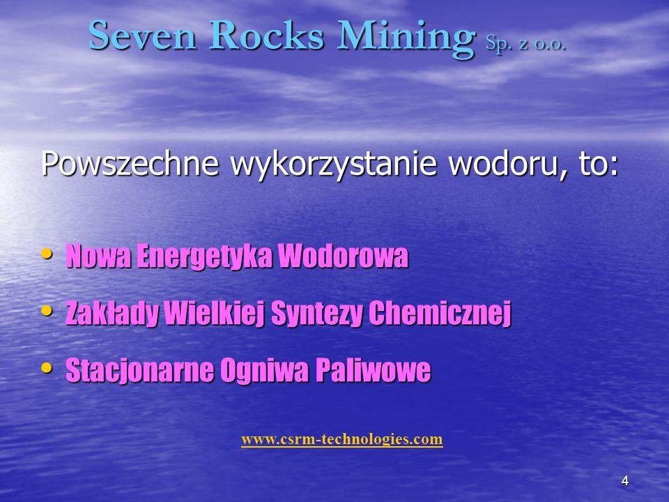 4 Seven Rocks Mining Sp.z o.o. Powszechne wykorzystanie wodoru, to: Seven Rocks Mining Sp.