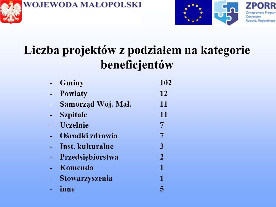 Liczba projektów z podziałem na kategorie beneficjentów -Gminy102 -Powiaty12 -Samorząd Woj. Mał.11 -Szpitale11 -Uczelnie7 -Ośrodki zdrowia 7 -Inst. ku