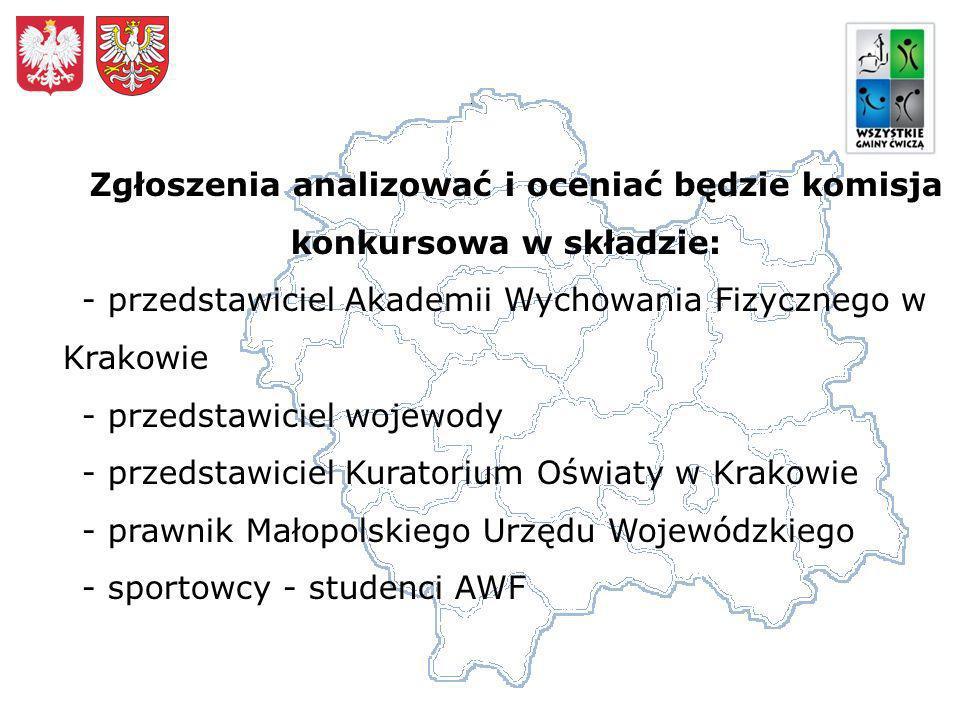 Zgłoszenia analizować i oceniać będzie komisja konkursowa w składzie: - przedstawiciel Akademii Wychowania Fizycznego w Krakowie - przedstawiciel wojewody - przedstawiciel Kuratorium Oświaty w Krakowie - prawnik Małopolskiego Urzędu Wojewódzkiego - sportowcy - studenci AWF