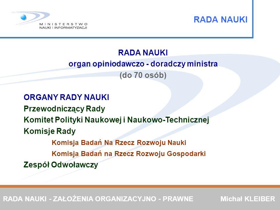 RADA NAUKI organ opiniodawczo - doradczy ministra (do 70 osób) ORGANY RADY NAUKI Przewodniczący Rady Komitet Polityki Naukowej i Naukowo-Technicznej K