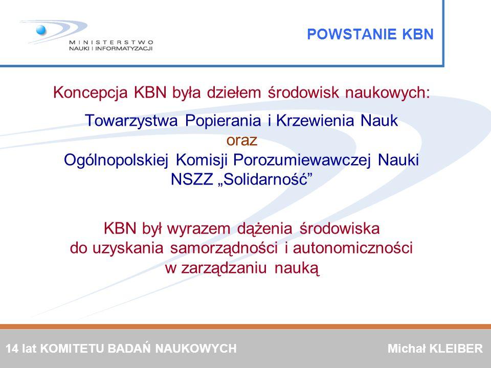 KOMITET BADAŃ NAUKOWYCH został powołany ustawą o Komitecie Badań Naukowych z 12 stycznia 1991 roku POWSTANIE KBN Pierwsze posiedzenie KBN odbyło się 15-16 maja 1991 roku Skład KBN Przewodniczący 12 członków pochodzących z wyboru (w tym 2 Zastępców Przewodniczącego) 5 członków Rady Ministrów Sekretarz Od maja 1991 do lutego 2005 odbyło się 140 posiedzeń KBN 14 lat KOMITETU BADAŃ NAUKOWYCH 14 lat KOMITETU BADAŃ NAUKOWYCH Michał KLEIBER