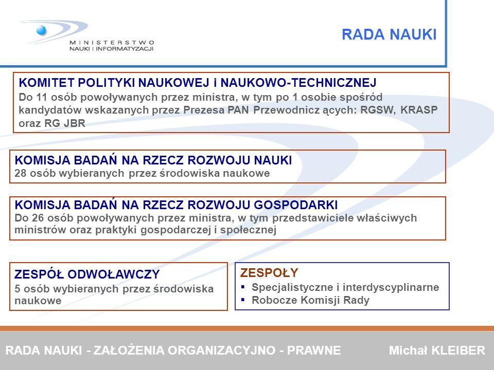 KOMISJA BADAŃ NA RZECZ ROZWOJU GOSPODARKI Do 26 osób powoływanych przez ministra, w tym przedstawiciele właściwych ministrów oraz praktyki gospodarcze