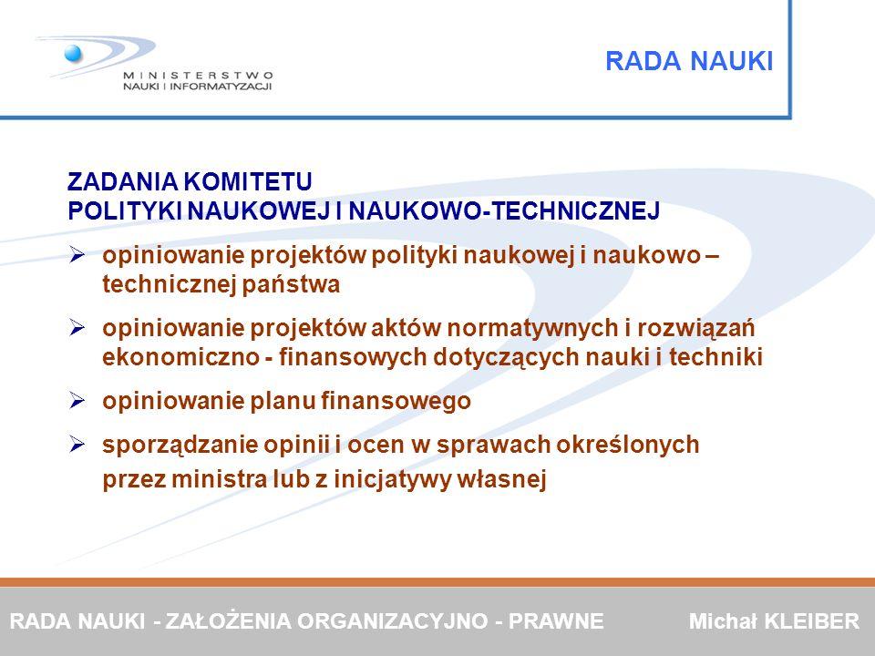 ZADANIA KOMITETU POLITYKI NAUKOWEJ I NAUKOWO-TECHNICZNEJ opiniowanie projektów polityki naukowej i naukowo – technicznej państwa opiniowanie projektów