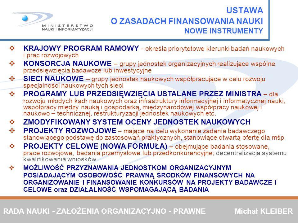 KRAJOWY PROGRAM RAMOWY - określa priorytetowe kierunki badań naukowych i prac rozwojowych KONSORCJA NAUKOWE – grupy jednostek organizacyjnych realizuj