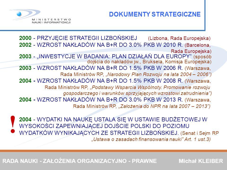 2000 - PRZYJĘCIE STRATEGII LIZBOŃSKIEJ (Lizbona, Rada Europejska) 2002 - WZROST NAKŁADÓW NA B+R DO 3.0% PKB W 2010 R. (Barcelona, Rada Europejska) 200