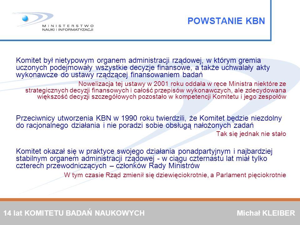 POWSTANIE KBN Komitet był nietypowym organem administracji rządowej, w którym gremia uczonych podejmowały wszystkie decyzje finansowe, a także uchwala