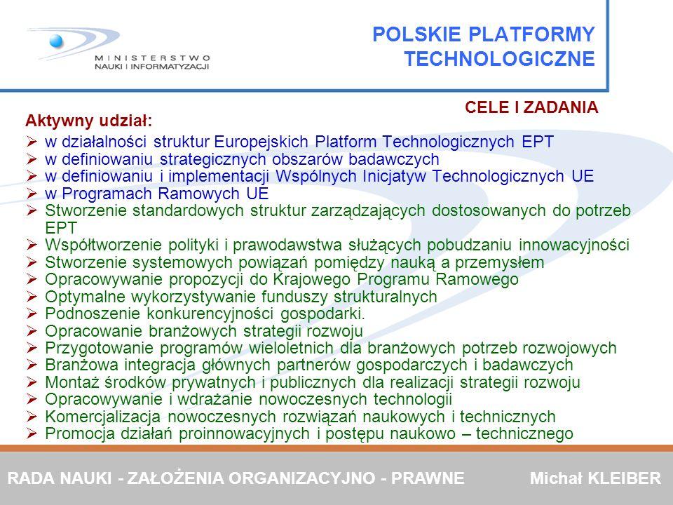 Aktywny udział: w działalności struktur Europejskich Platform Technologicznych EPT w definiowaniu strategicznych obszarów badawczych w definiowaniu i