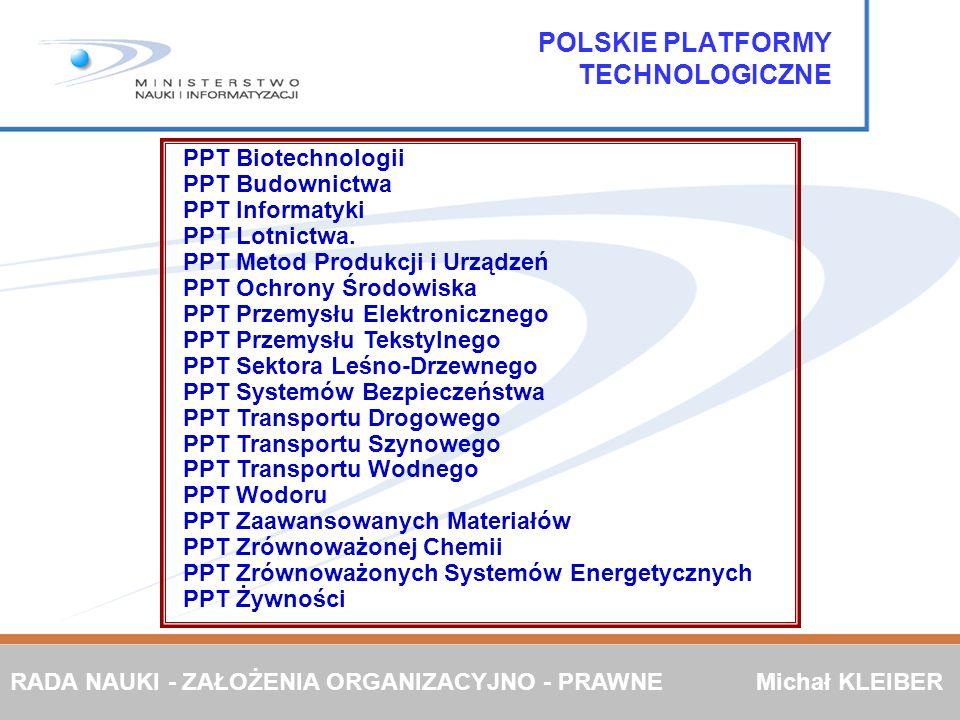 POLSKIE PLATFORMY TECHNOLOGICZNE PPT Biotechnologii PPT Budownictwa PPT Informatyki PPT Lotnictwa. PPT Metod Produkcji i Urządzeń PPT Ochrony Środowis