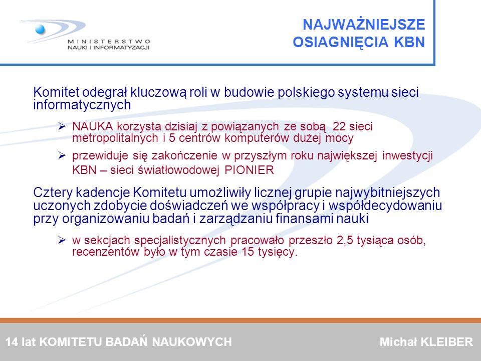 NAJWAŻNIEJSZE OSIAGNIĘCIA KBN Komitet odegrał kluczową roli w budowie polskiego systemu sieci informatycznych NAUKA korzysta dzisiaj z powiązanych ze