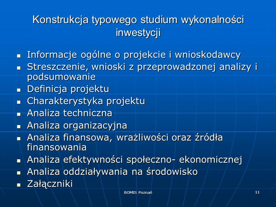 BOMIS Poznań 11 Konstrukcja typowego studium wykonalności inwestycji Informacje ogólne o projekcie i wnioskodawcy Informacje ogólne o projekcie i wnio