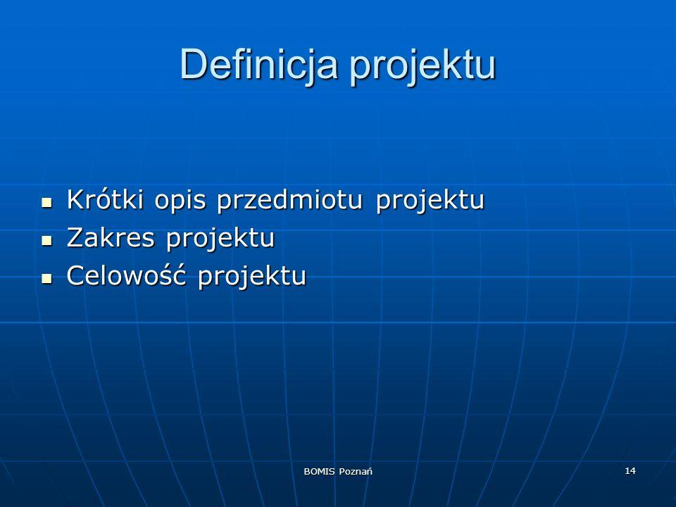 BOMIS Poznań 14 Definicja projektu Krótki opis przedmiotu projektu Krótki opis przedmiotu projektu Zakres projektu Zakres projektu Celowość projektu C