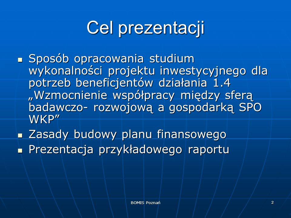 BOMIS Poznań 3 Studium wykonalności (feasibility study) Obowiązkowy dokument uzupełniający wniosek o finansowanie inwestycji z SPO Obowiązkowy dokument uzupełniający wniosek o finansowanie inwestycji z SPO Kompendium wiedzy (ekonomicznej, technicznej, organizacyjnej ) na temat projektu Kompendium wiedzy (ekonomicznej, technicznej, organizacyjnej ) na temat projektu Dokument zharmonizowany z samym wnioskiem Dokument zharmonizowany z samym wnioskiem