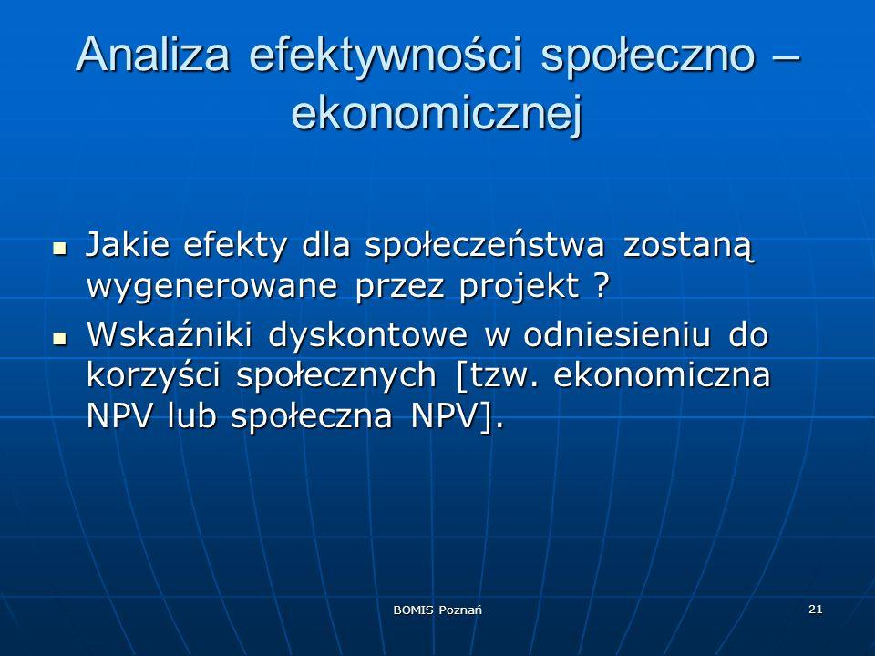 BOMIS Poznań 21 Analiza efektywności społeczno – ekonomicznej Jakie efekty dla społeczeństwa zostaną wygenerowane przez projekt ? Jakie efekty dla spo