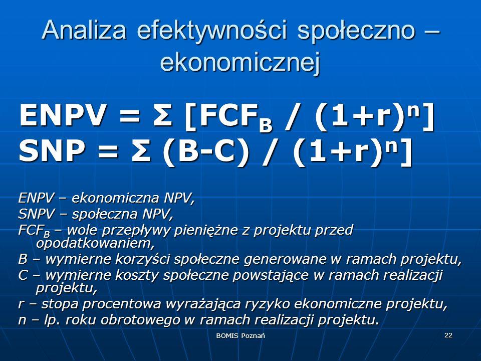BOMIS Poznań 22 Analiza efektywności społeczno – ekonomicznej ENPV = Σ [FCF B / (1+r) n ] SNP = Σ (B-C) / (1+r) n ] ENPV – ekonomiczna NPV, SNPV – spo