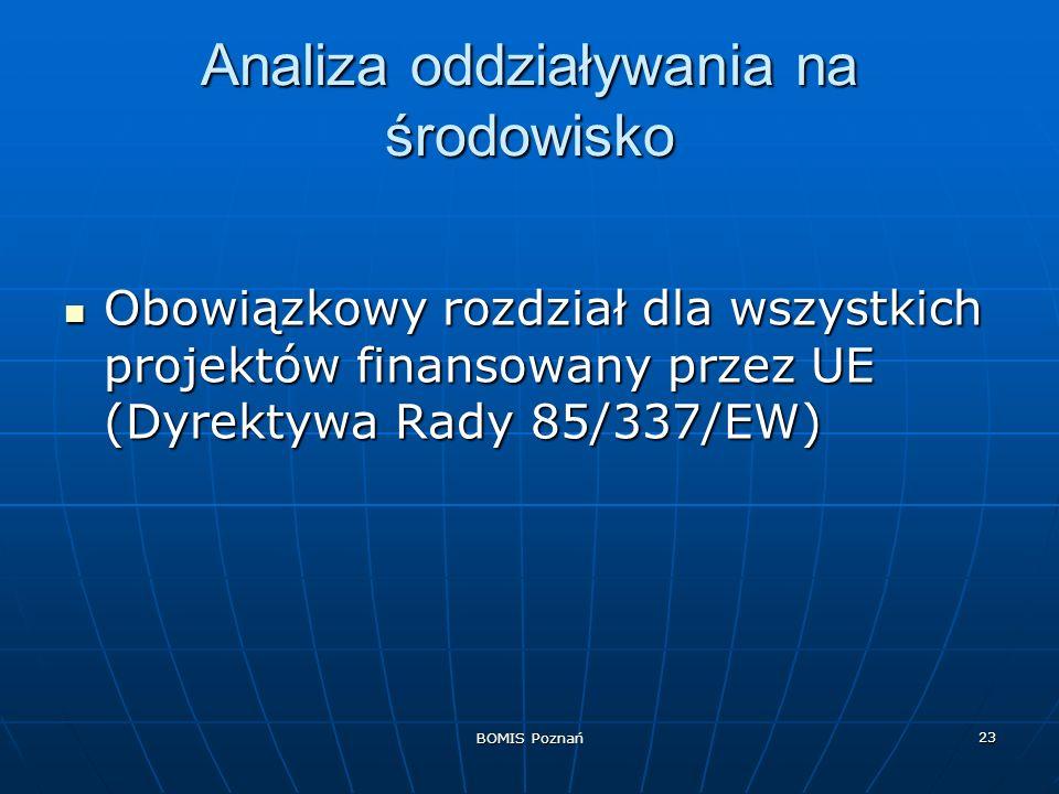 BOMIS Poznań 23 Analiza oddziaływania na środowisko Obowiązkowy rozdział dla wszystkich projektów finansowany przez UE (Dyrektywa Rady 85/337/EW) Obow