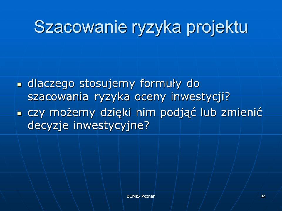 BOMIS Poznań 32 Szacowanie ryzyka projektu dlaczego stosujemy formuły do szacowania ryzyka oceny inwestycji? dlaczego stosujemy formuły do szacowania