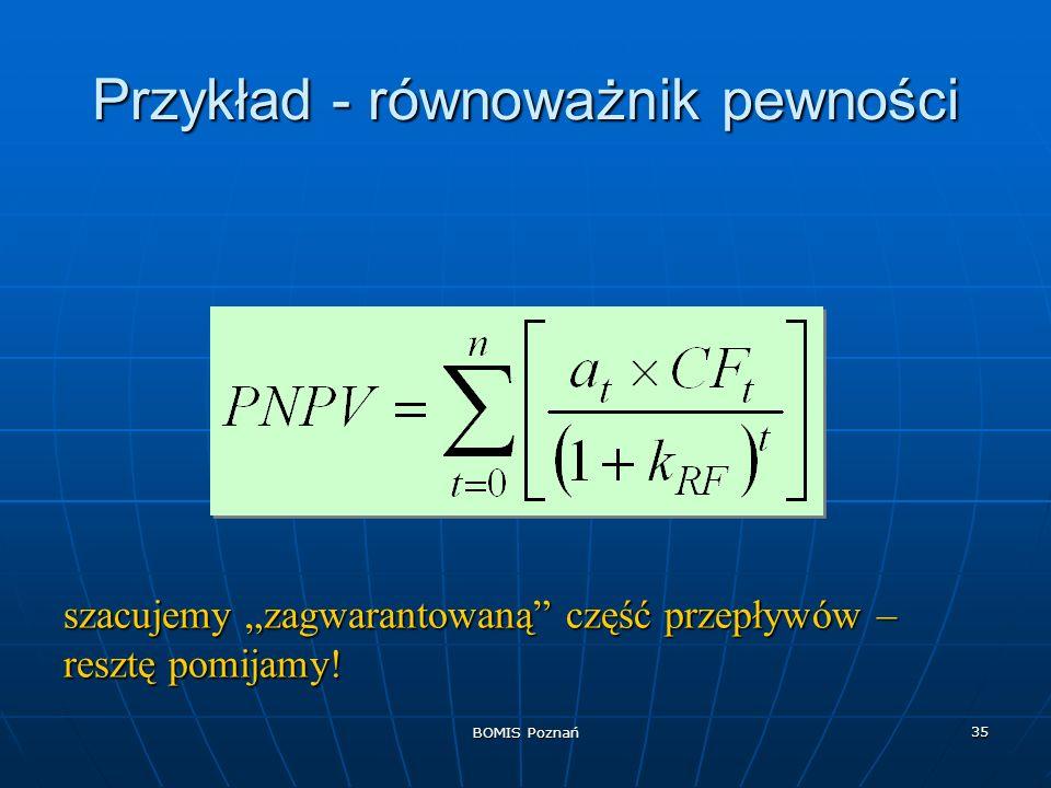 BOMIS Poznań 35 Przykład - równoważnik pewności szacujemy zagwarantowaną część przepływów – resztę pomijamy!