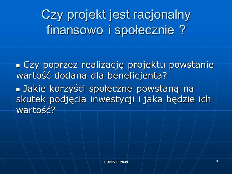 BOMIS Poznań 7 Czy projekt jest racjonalny finansowo i społecznie ? Czy poprzez realizację projektu powstanie wartość dodana dla beneficjenta? Czy pop