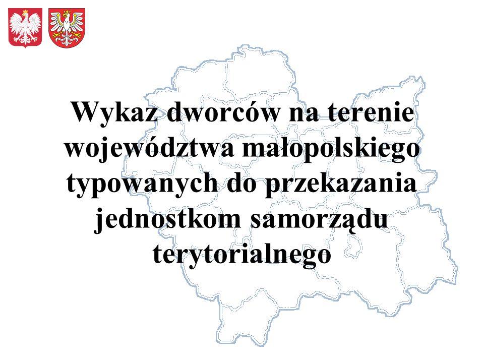 Wykaz dworców na terenie województwa małopolskiego typowanych do przekazania jednostkom samorządu terytorialnego