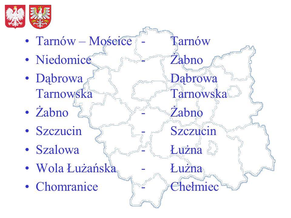 Tarnów – Mościce-Tarnów Niedomice-Żabno DąbrowaDąbrowa TarnowskaTarnowska Żabno-Żabno Szczucin-Szczucin Szalowa-Łużna Wola Łużańska-Łużna Chomranice-Chełmiec