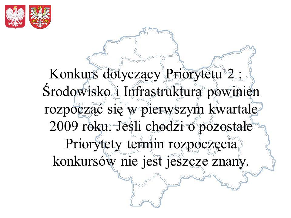 Konkurs dotyczący Priorytetu 2 : Środowisko i Infrastruktura powinien rozpocząć się w pierwszym kwartale 2009 roku. Jeśli chodzi o pozostałe Priorytet