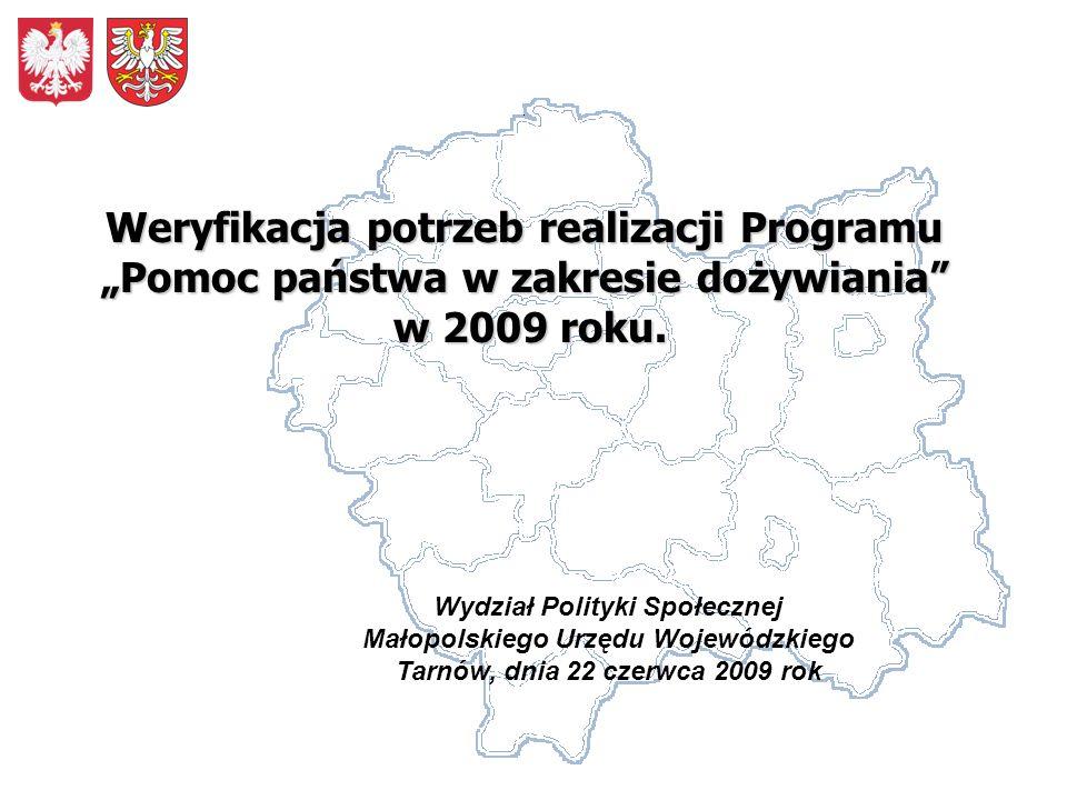 Wydział Polityki Społecznej Małopolskiego Urzędu Wojewódzkiego Tarnów, dnia 22 czerwca 2009 rok Weryfikacja potrzeb realizacji Programu Pomoc państwa w zakresie dożywiania w 2009 roku.