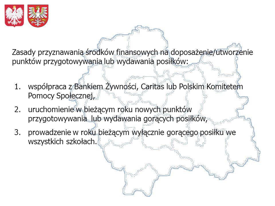 1.współpraca z Bankiem Żywności, Caritas lub Polskim Komitetem Pomocy Społecznej, 2.uruchomienie w bieżącym roku nowych punktów przygotowywania lub wydawania gorących posiłków, 3.prowadzenie w roku bieżącym wyłącznie gorącego posiłku we wszystkich szkołach.