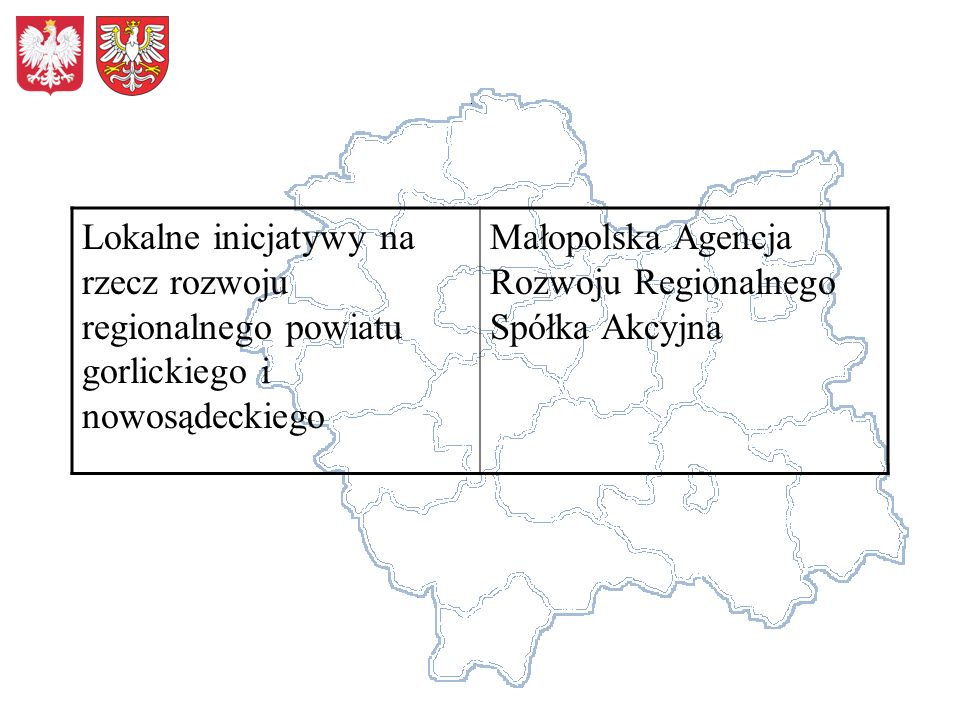 Lokalne inicjatywy na rzecz rozwoju regionalnego powiatu gorlickiego i nowosądeckiego Małopolska Agencja Rozwoju Regionalnego Spółka Akcyjna