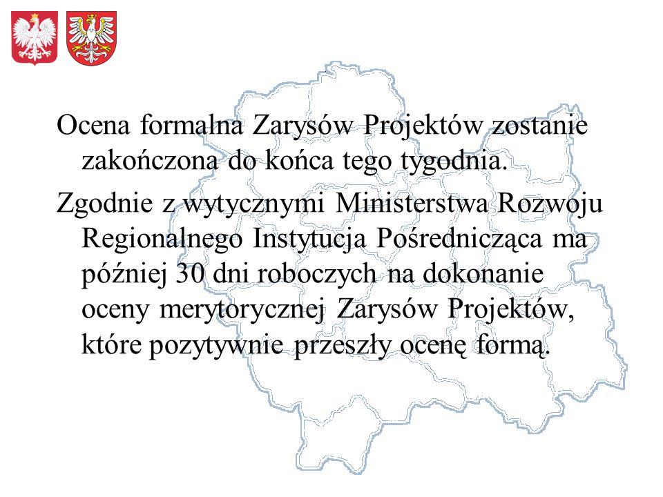 Ocena formalna Zarysów Projektów zostanie zakończona do końca tego tygodnia. Zgodnie z wytycznymi Ministerstwa Rozwoju Regionalnego Instytucja Pośredn