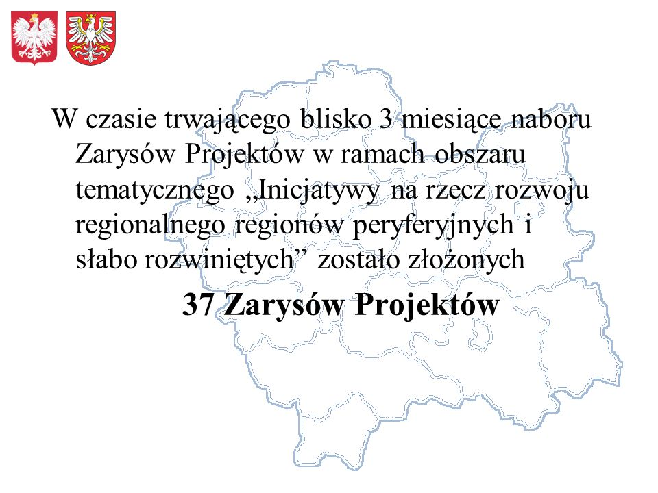 W czasie trwającego blisko 3 miesiące naboru Zarysów Projektów w ramach obszaru tematycznego Inicjatywy na rzecz rozwoju regionalnego regionów peryferyjnych i słabo rozwiniętych zostało złożonych 37 Zarysów Projektów