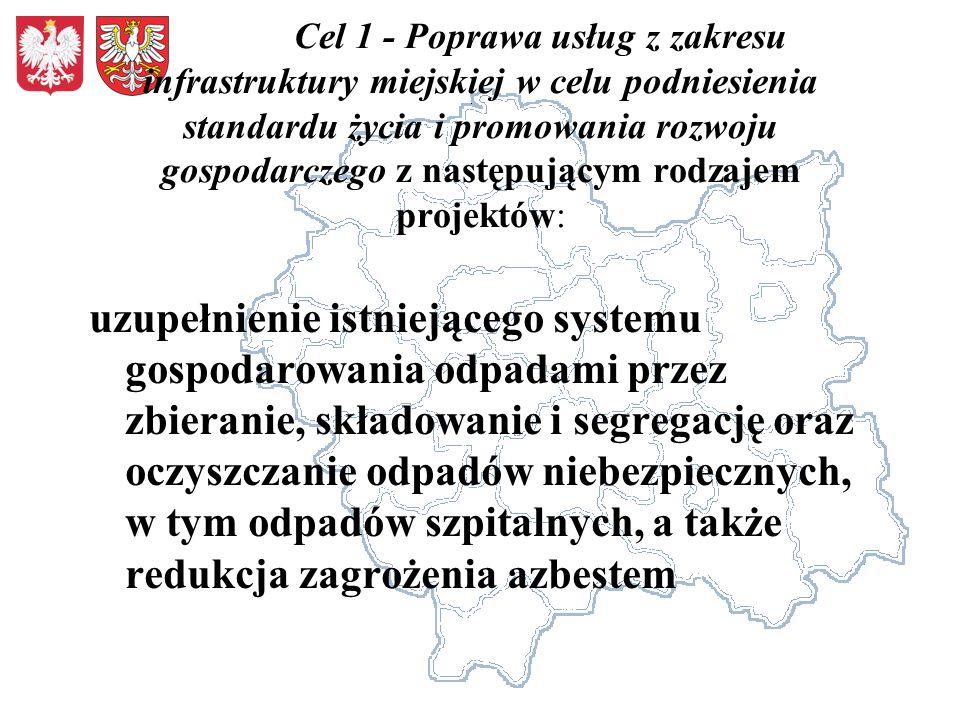 Cel 1 - Poprawa usług z zakresu infrastruktury miejskiej w celu podniesienia standardu życia i promowania rozwoju gospodarczego z następującym rodzaje