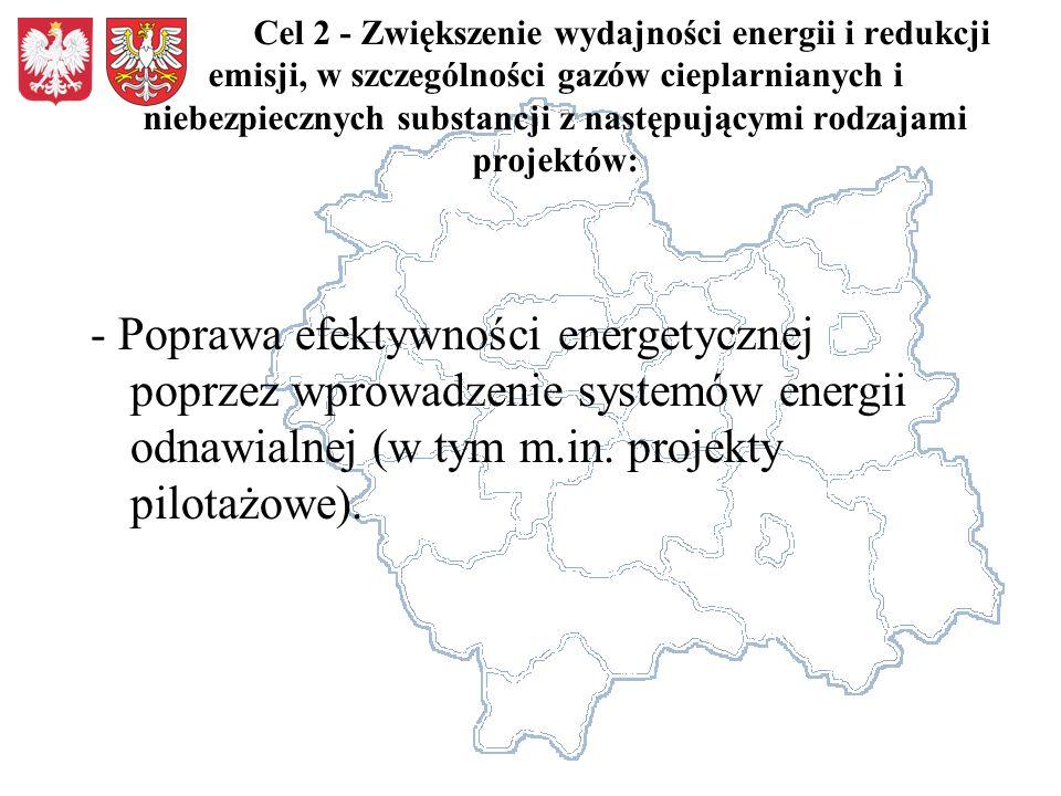 Cel 2 - Zwiększenie wydajności energii i redukcji emisji, w szczególności gazów cieplarnianych i niebezpiecznych substancji z następującymi rodzajami