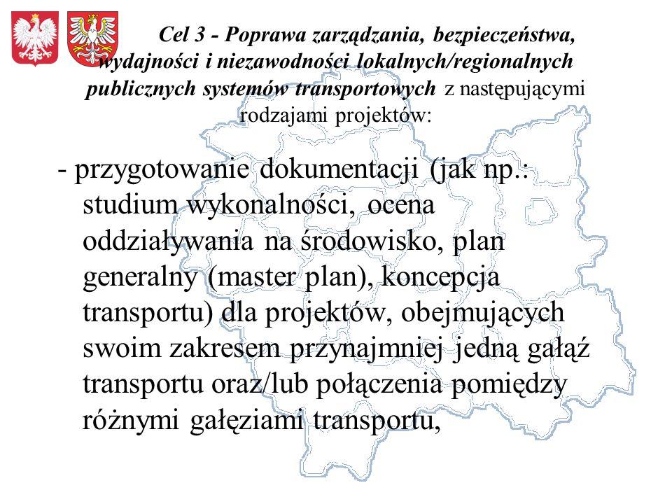 Cel 3 - Poprawa zarządzania, bezpieczeństwa, wydajności i niezawodności lokalnych/regionalnych publicznych systemów transportowych z następującymi rodzajami projektów: - przygotowanie dokumentacji (jak np.: studium wykonalności, ocena oddziaływania na środowisko, plan generalny (master plan), koncepcja transportu) dla projektów, obejmujących swoim zakresem przynajmniej jedną gałąź transportu oraz/lub połączenia pomiędzy różnymi gałęziami transportu,