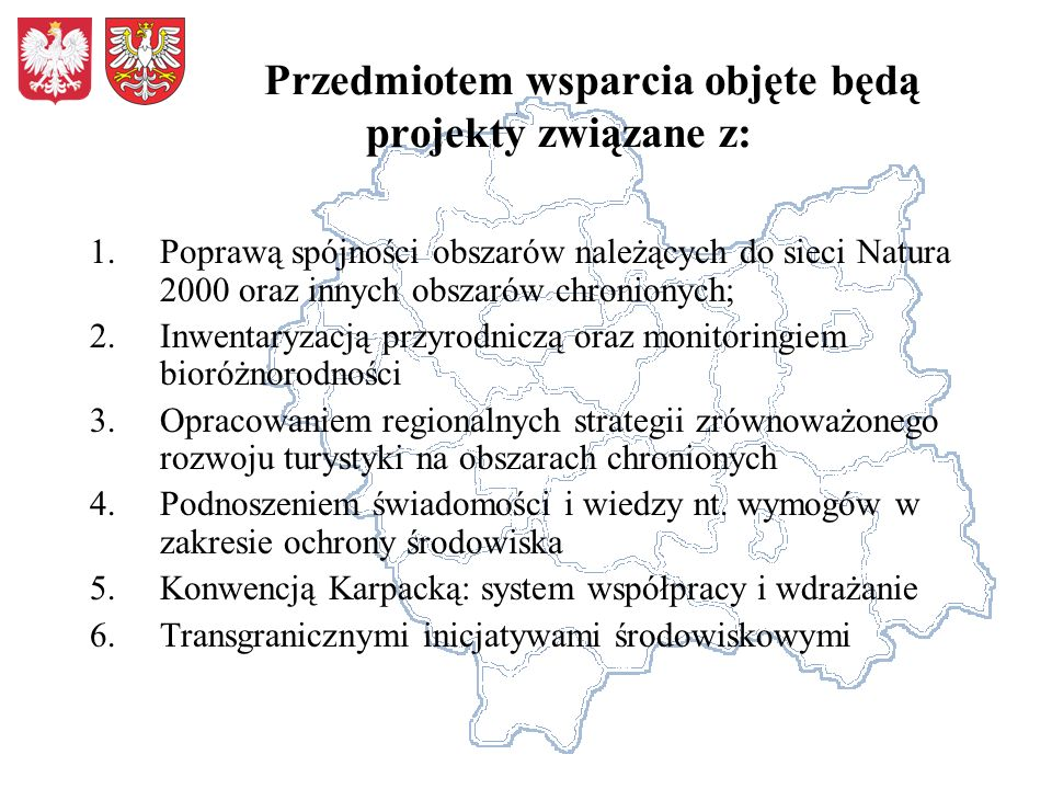 Przedmiotem wsparcia objęte będą projekty związane z: 1.Poprawą spójności obszarów należących do sieci Natura 2000 oraz innych obszarów chronionych; 2.Inwentaryzacją przyrodniczą oraz monitoringiem bioróżnorodności 3.Opracowaniem regionalnych strategii zrównoważonego rozwoju turystyki na obszarach chronionych 4.Podnoszeniem świadomości i wiedzy nt.