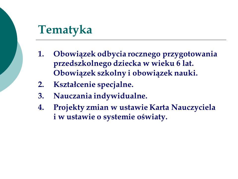 Tematyka 1.Obowiązek odbycia rocznego przygotowania przedszkolnego dziecka w wieku 6 lat. Obowiązek szkolny i obowiązek nauki. 2.Kształcenie specjalne