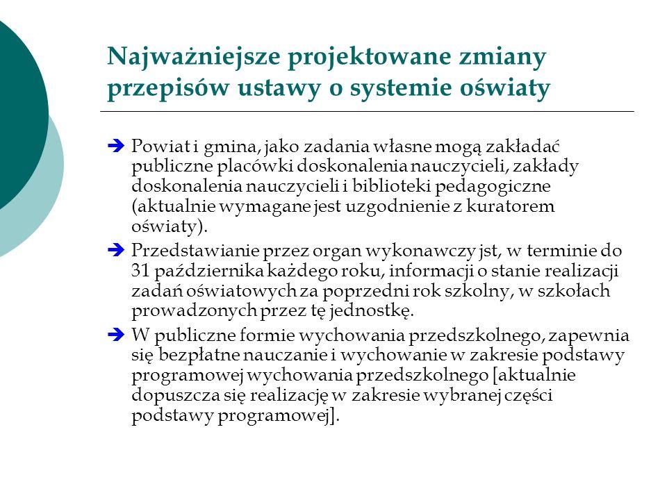 Najważniejsze projektowane zmiany przepisów ustawy o systemie oświaty Powiat i gmina, jako zadania własne mogą zakładać publiczne placówki doskonaleni