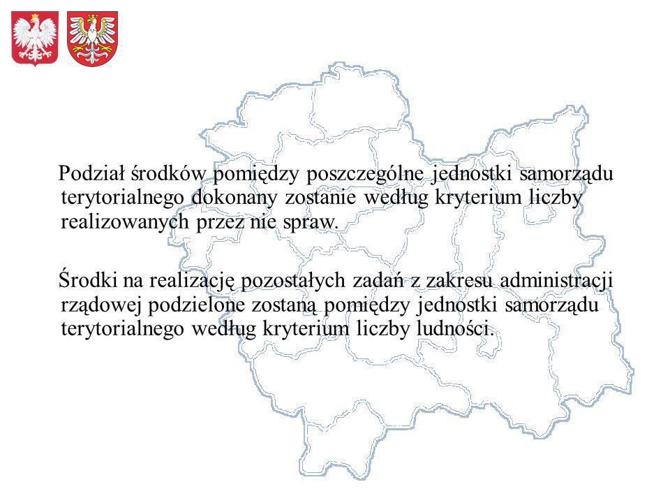 Podział środków pomiędzy poszczególne jednostki samorządu terytorialnego dokonany zostanie według kryterium liczby realizowanych przez nie spraw. Środ