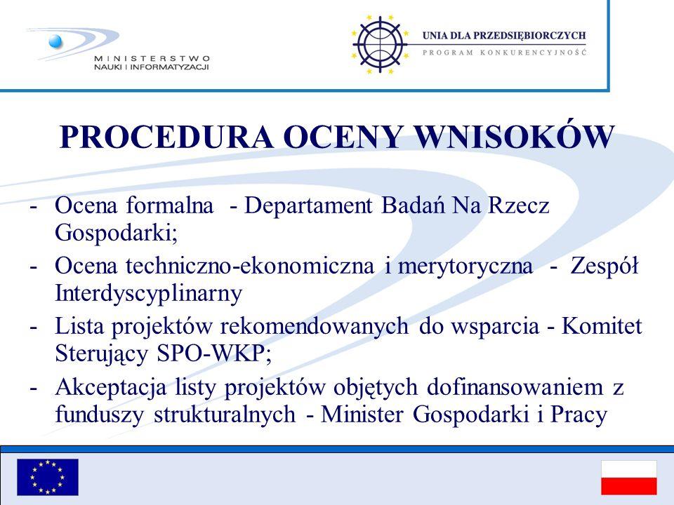 PROCEDURA OCENY WNISOKÓW - Ocena formalna - Departament Badań Na Rzecz Gospodarki; -Ocena techniczno-ekonomiczna i merytoryczna - Zespół Interdyscypli