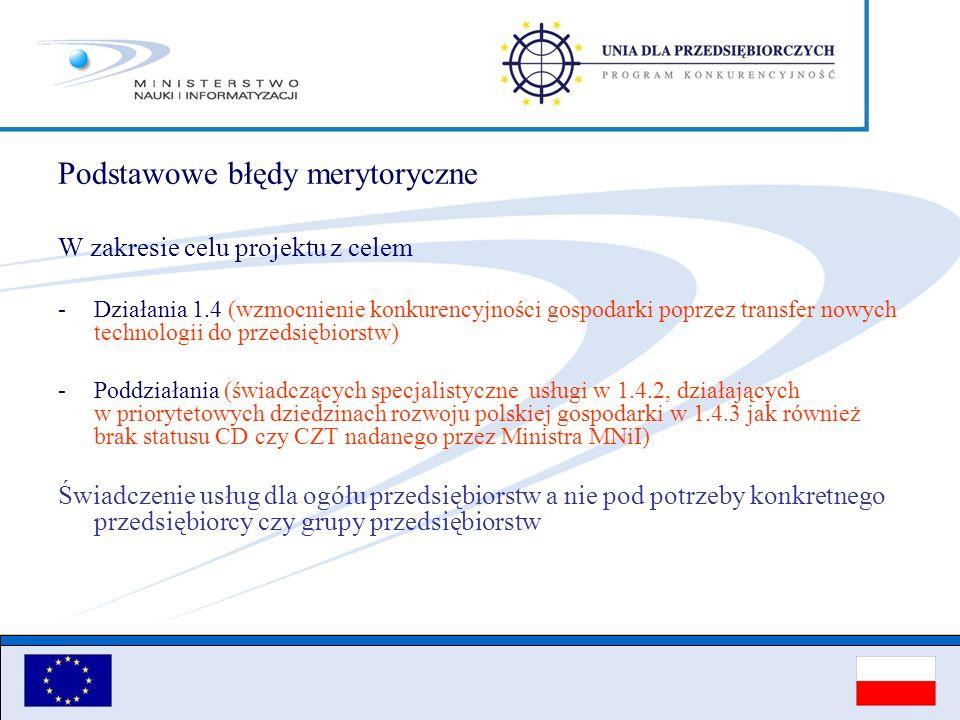 Podstawowe błędy merytoryczne W zakresie celu projektu z celem -Działania 1.4 (wzmocnienie konkurencyjności gospodarki poprzez transfer nowych technol