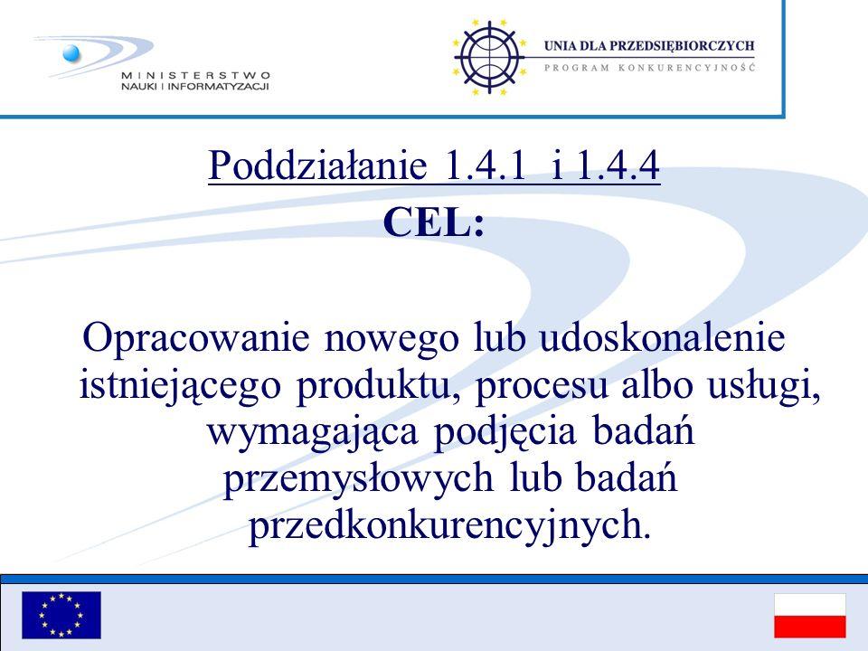 Poddziałanie 1.4.1 i 1.4.4 CEL: Opracowanie nowego lub udoskonalenie istniejącego produktu, procesu albo usługi, wymagająca podjęcia badań przemysłowy