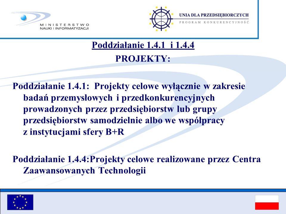 Poddziałanie 1.4.1 i 1.4.4 PROJEKTY: Poddziałanie 1.4.1: Projekty celowe wyłącznie w zakresie badań przemysłowych i przedkonkurencyjnych prowadzonych