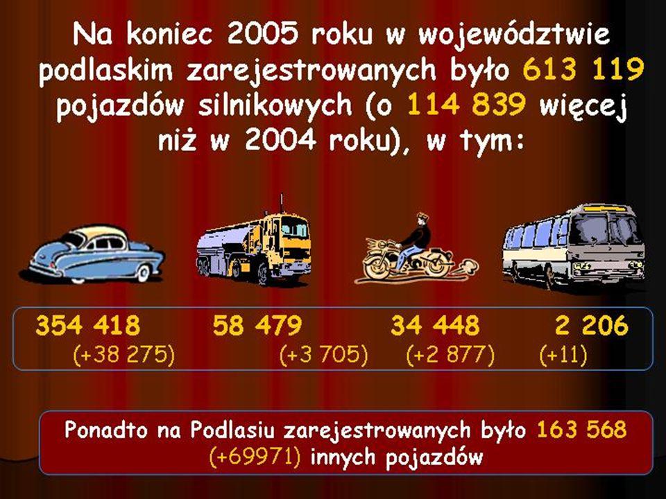 Ruch graniczny osób i pojazdów w 2005 roku Odcinek podlaskiOdcinek litewski 2005r.