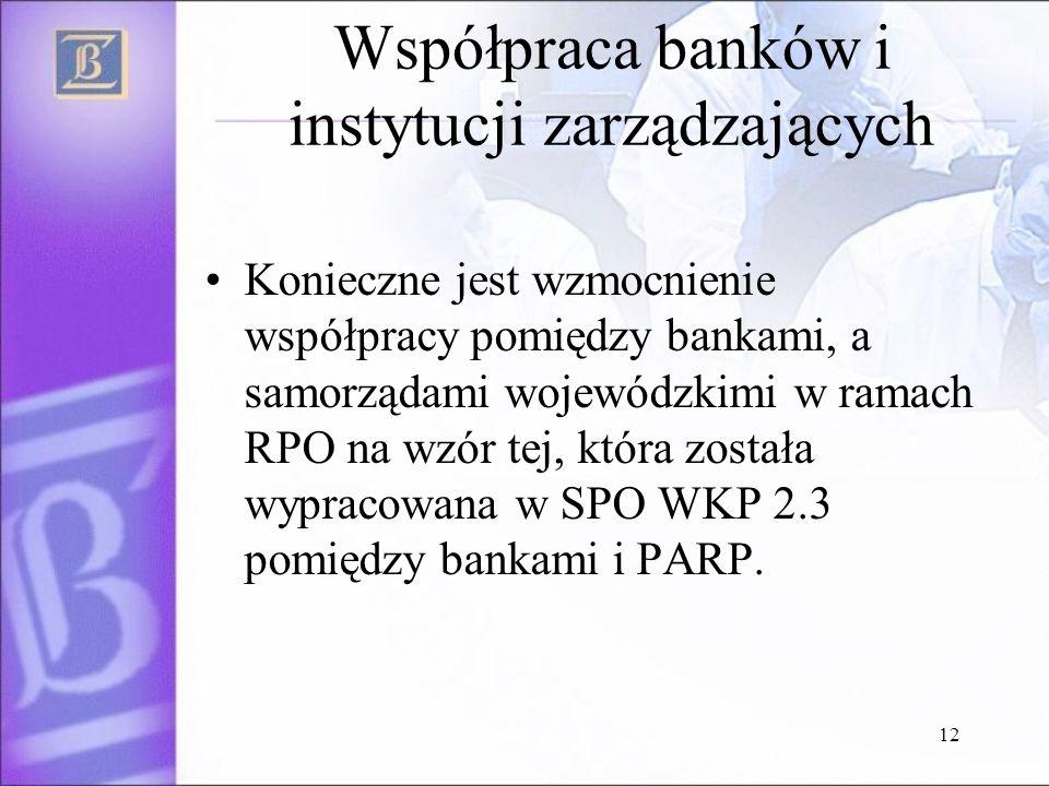 12 Współpraca banków i instytucji zarządzających Konieczne jest wzmocnienie współpracy pomiędzy bankami, a samorządami wojewódzkimi w ramach RPO na wzór tej, która została wypracowana w SPO WKP 2.3 pomiędzy bankami i PARP.