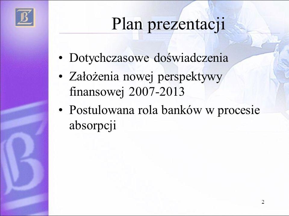 2 Plan prezentacji Dotychczasowe doświadczenia Założenia nowej perspektywy finansowej 2007-2013 Postulowana rola banków w procesie absorpcji