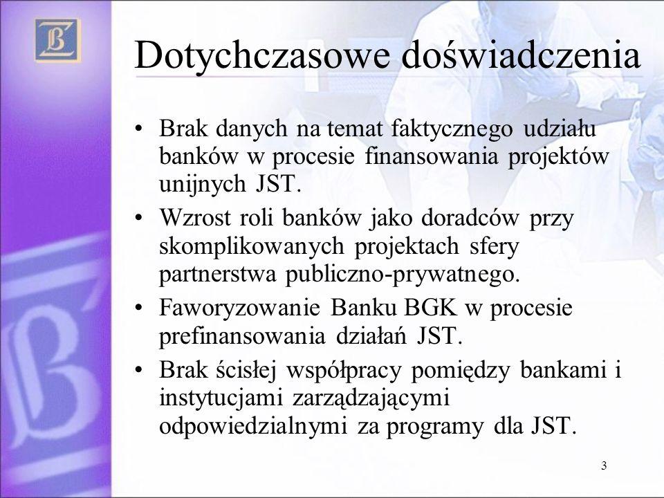 3 Dotychczasowe doświadczenia Brak danych na temat faktycznego udziału banków w procesie finansowania projektów unijnych JST.