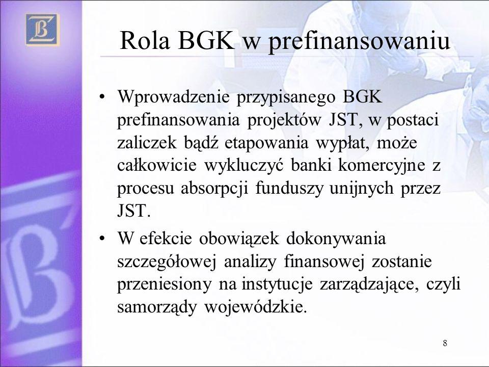 8 Rola BGK w prefinansowaniu Wprowadzenie przypisanego BGK prefinansowania projektów JST, w postaci zaliczek bądź etapowania wypłat, może całkowicie wykluczyć banki komercyjne z procesu absorpcji funduszy unijnych przez JST.