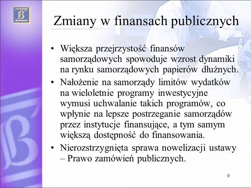 9 Zmiany w finansach publicznych Większa przejrzystość finansów samorządowych spowoduje wzrost dynamiki na rynku samorządowych papierów dłużnych.