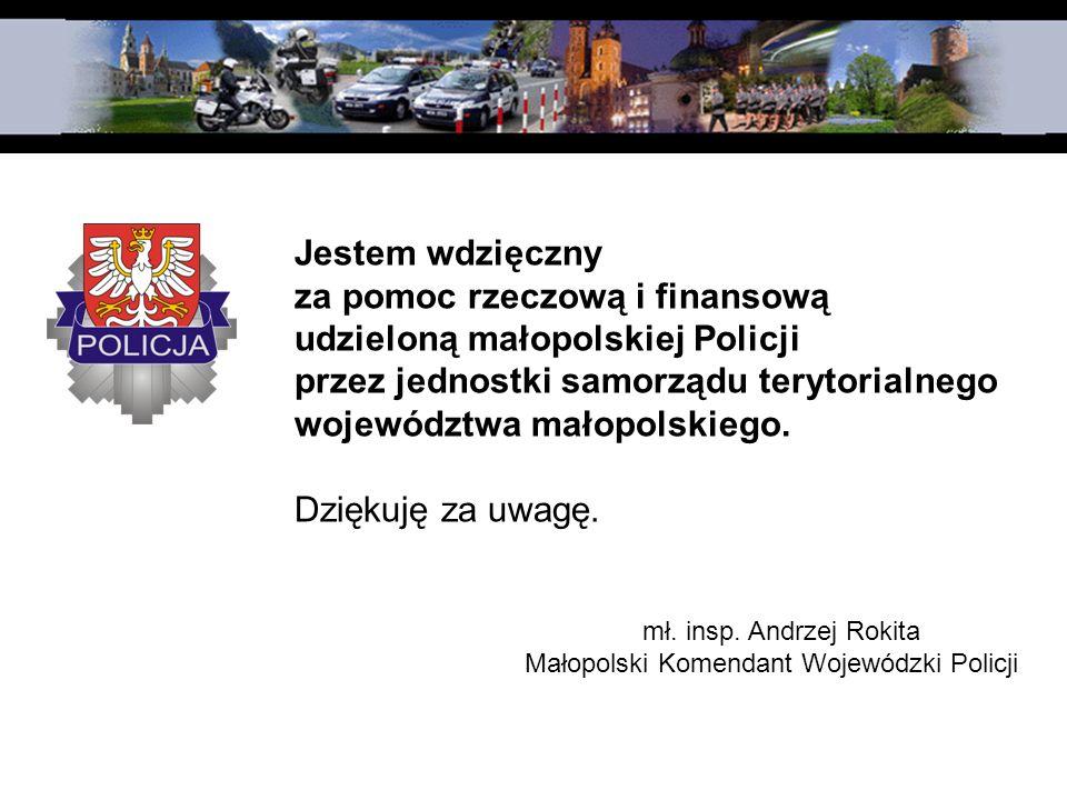 Jestem wdzięczny za pomoc rzeczową i finansową udzieloną małopolskiej Policji przez jednostki samorządu terytorialnego województwa małopolskiego. Dzię